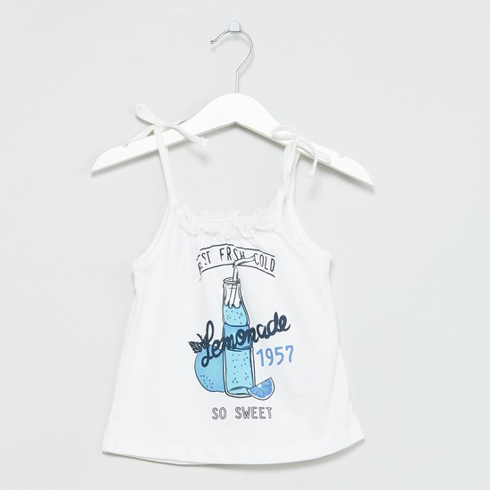 MAX Typographic Print Top with Tie-Up Straps