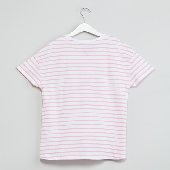 MAX Striped Short Sleeves High-Low Top
