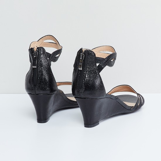 MAX Textured Ankle-Strap Wedges
