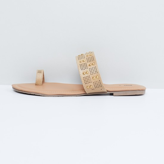 MAX Studded Toe-Ring Sandals with Cutouts