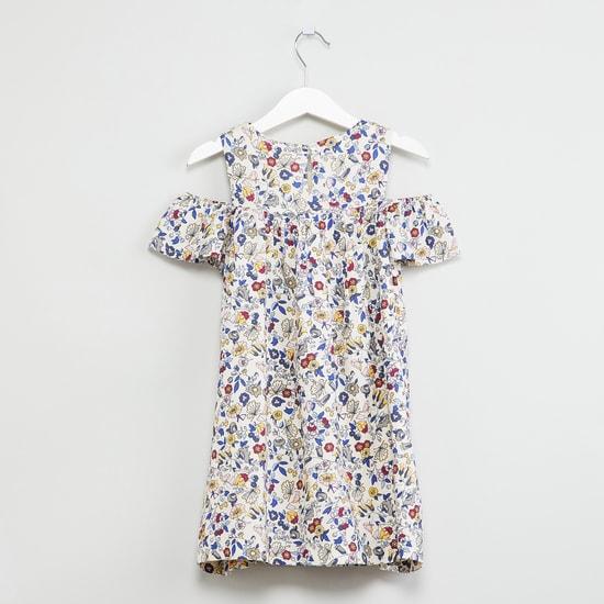 MAX Floral Print Cold-Shoulder Dress