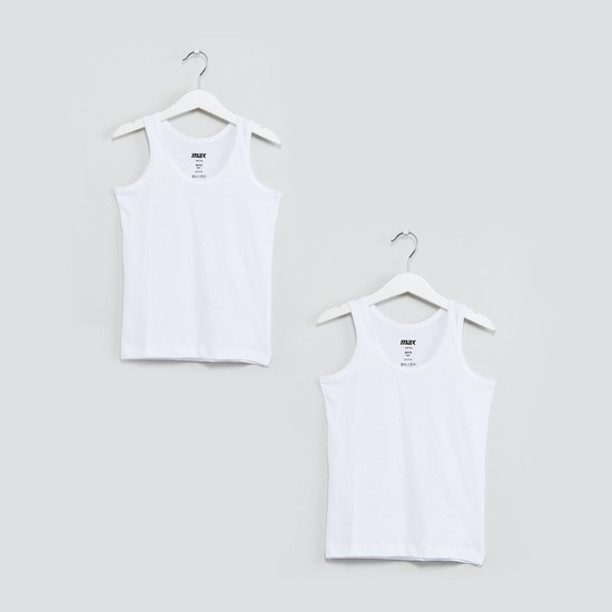MAX Solid Round Neck Vest-Pack of 2