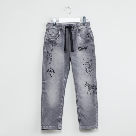 MAX Animal Print Stonewashed Jeans