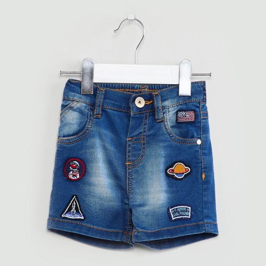 MAX Graphic Applique Stonewashed Denim Shorts