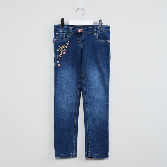 MAX Stonewashed Embroidered Jeans