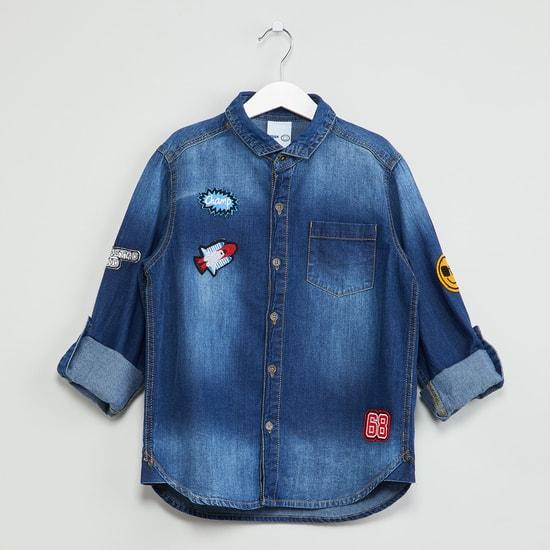 MAX Stonewashed Applique Detail Denim Shirt