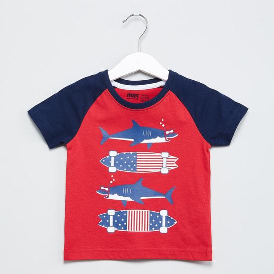 MAX Shark Print Colourblock T-shirt