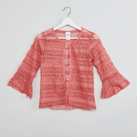 MAX Lace Layered Bell Sleeves Shrug