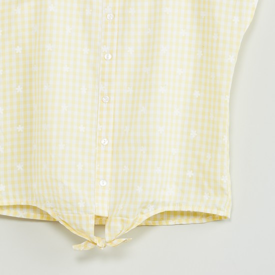 MAX Tie-Up Hem Gingham Check Shirt
