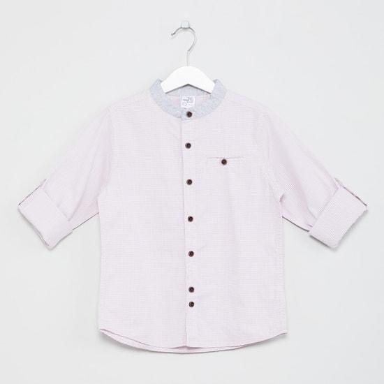 MAX Roll-Up Sleeves Band Collar Shirt