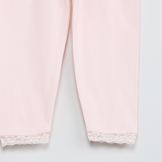 MAX Solid Leggings with Lace Trim