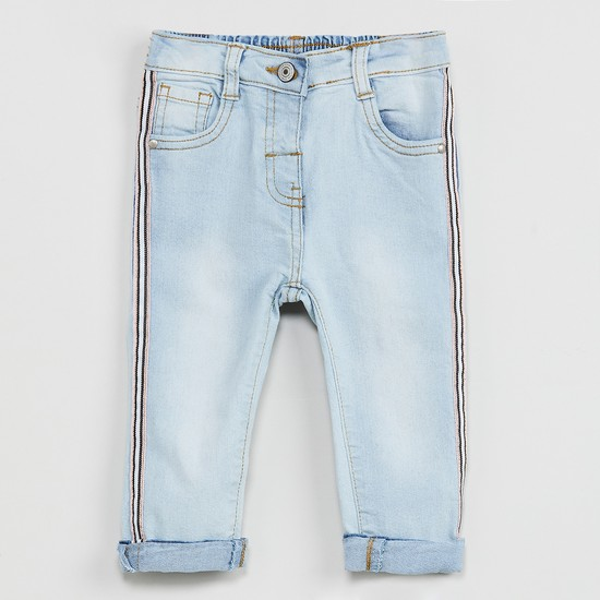 MAX Lightly Washed Jeans with Contrast Taping