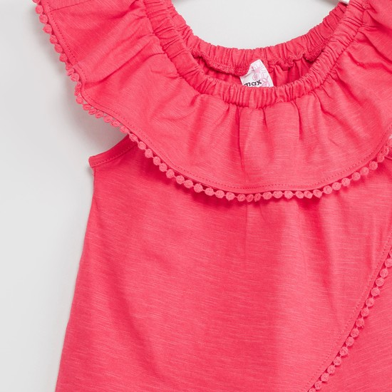 MAX Solid Ruffled Layer Top