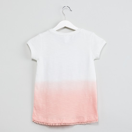 MAX Floral Embroidery Ombre-Dyed Top