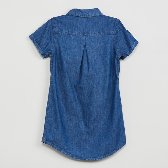 MAX Roll-Up Sleeves Denim Top