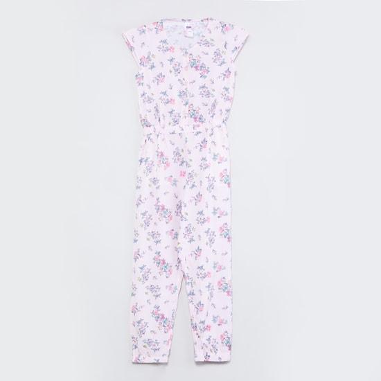 MAX Floral Print Cinched Waist Jumpsuit