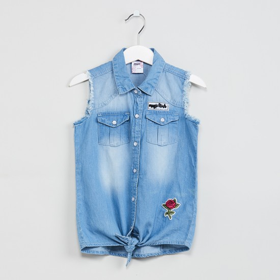 MAX Lightly Washed Denim Shirt with Tie-Up Hem