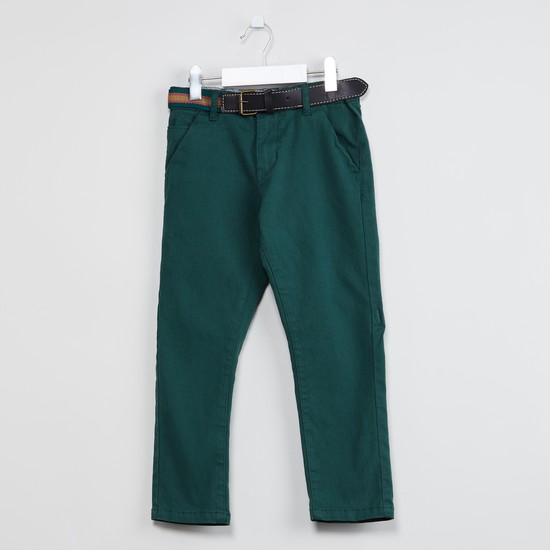 MAX Solid Flat-Front Trousers with Belt