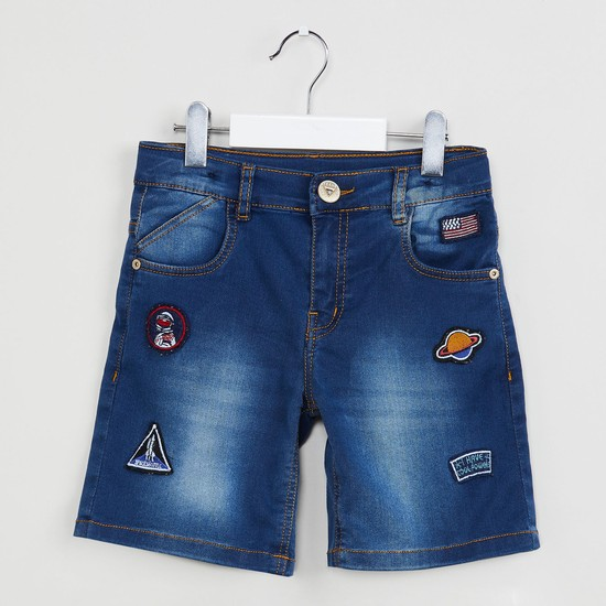MAX Stonewashed Denim Shorts with Quirky Applique