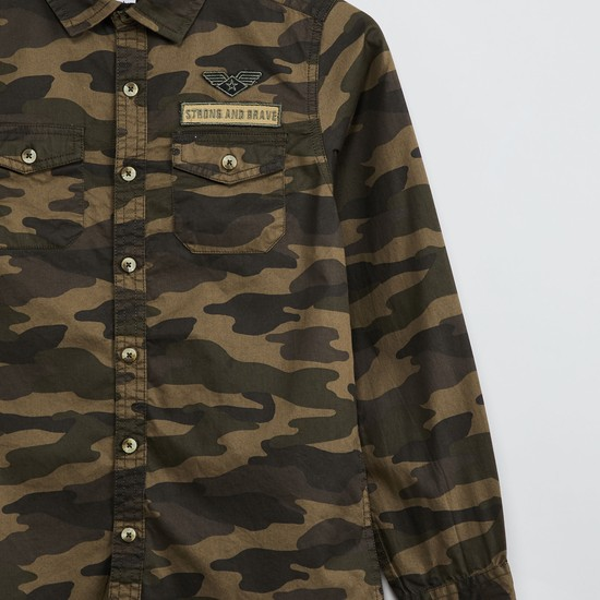 MAX Camouflage Print Shirt with Applique
