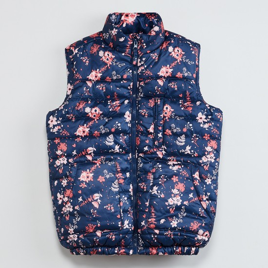 MAX Floral Print Sleeveless Quilted Hooded Jacket