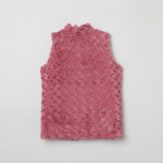 MAX Rosette Textured Sleeveless Jacket