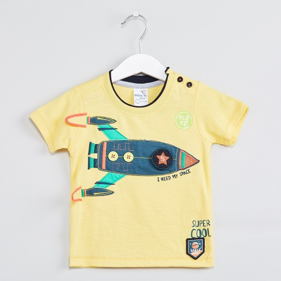 MAX Short Sleeves Applique T-shirt
