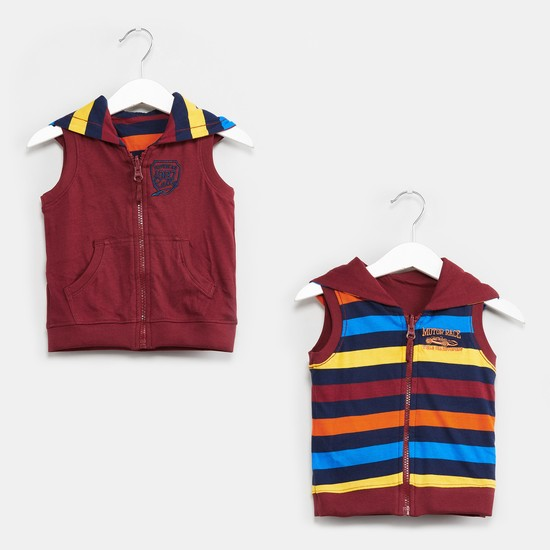 MAX Striped Sleeveless Reversible Sweatshirt