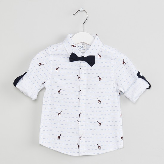 MAX Printed Roll-up Sleeves Shirt with Bow Applique