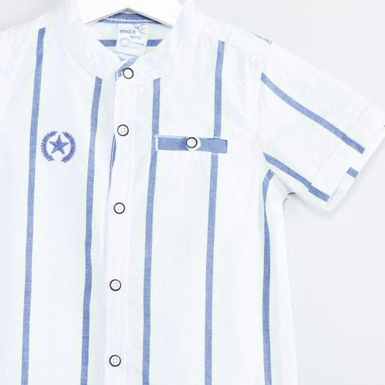 MAX Striped Mandarin Collar Shirt