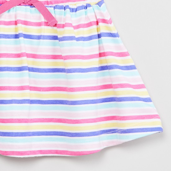 MAX Striped A-line Skirt with Bow