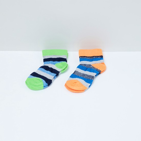 MAX Striped Patterned Socks - Pack of 2 - 2-4Y