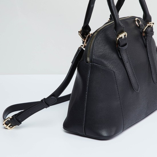 MAX Textured Handbag with Rolled Handles