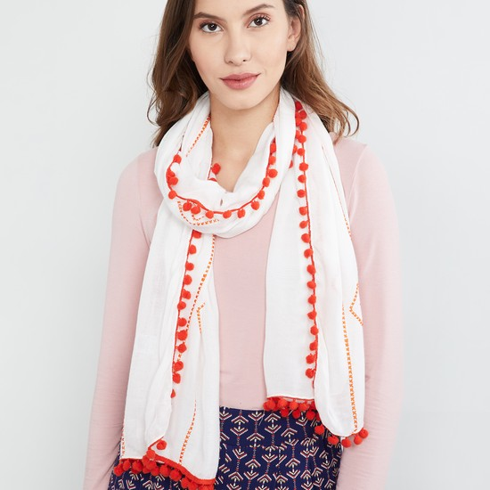 MAX Embroidered Scarf with Pompoms