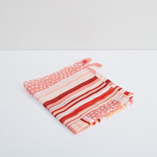 MAX Polka-Dot Print Striped Scarf