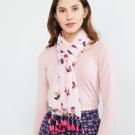 MAX Floral Print Scarf with Tasselled Border