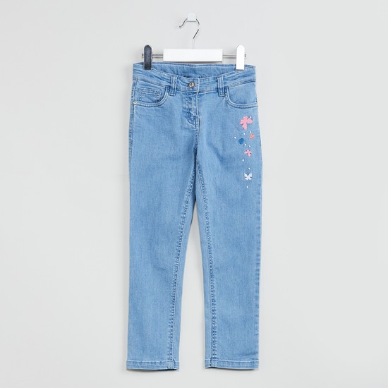 MAX Butterfly Embroidery 5-Pocket Jeans
