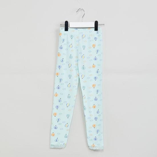 MAX Printed Leggings with Lace Trim