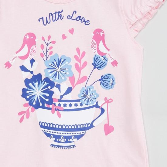 MAX Cutaway Sleeves Floral Print Top