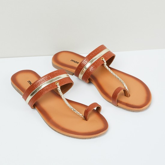 MAX Toe-Ring Flat Sandals with Braided Strap