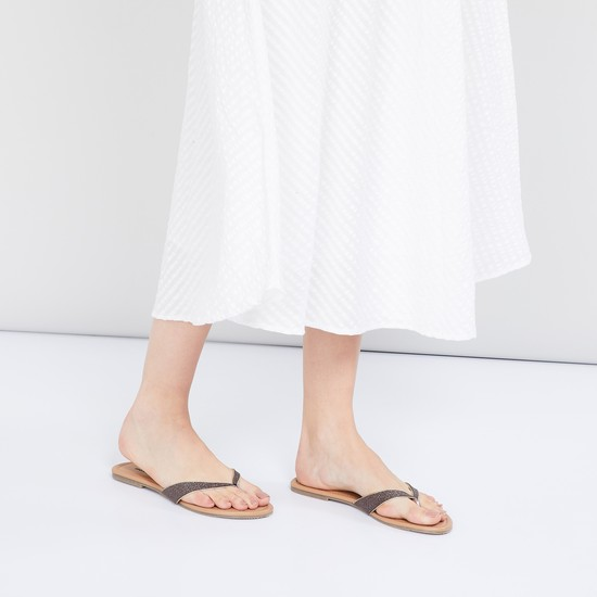 MAX Shimmery Thong Flat Sandals