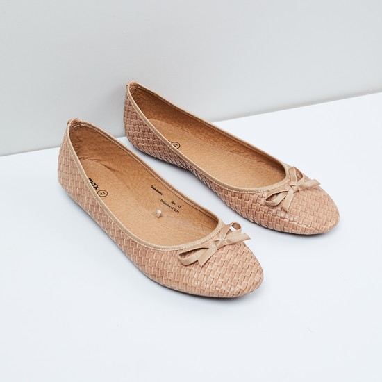 MAX Basket Weave Ballerinas with Mock Bow