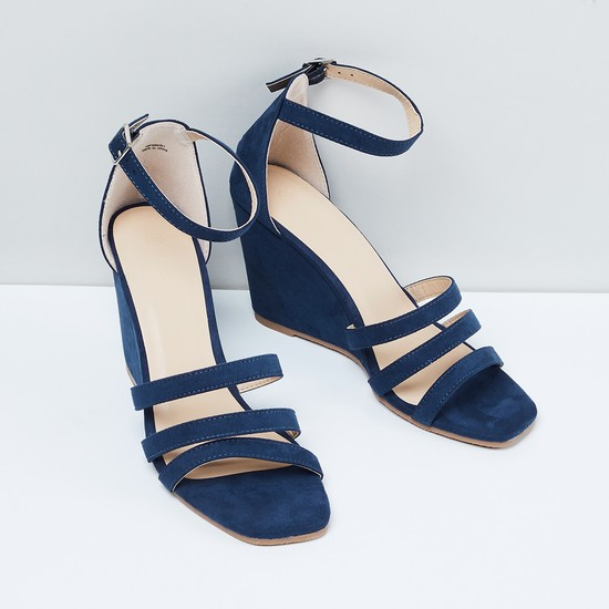 MAX Ankle-Strap Textured Wedges