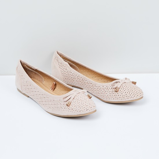 MAX Perforated Bow Detail Ballerina Shoes