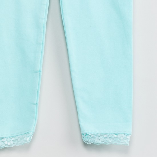 MAX Solid Leggings with Lace Hems