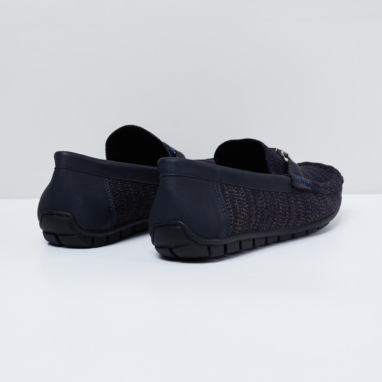 MAX Textured Knit Buckled Detail Loafers
