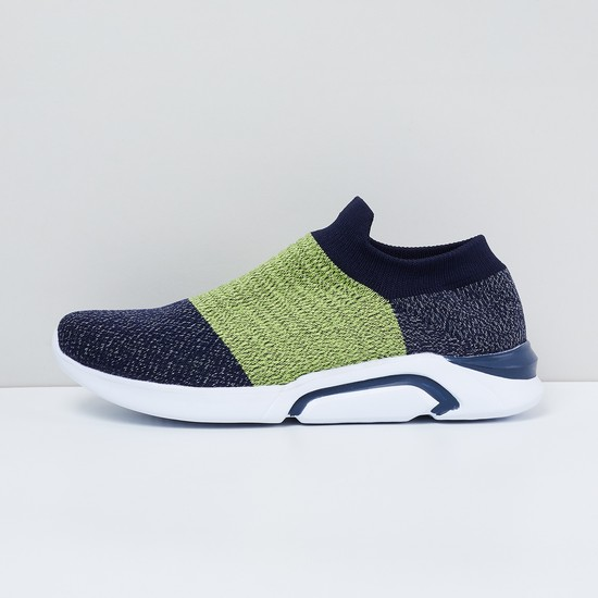 MAX Colourblocked Sock-Knit Slip-On Shoes
