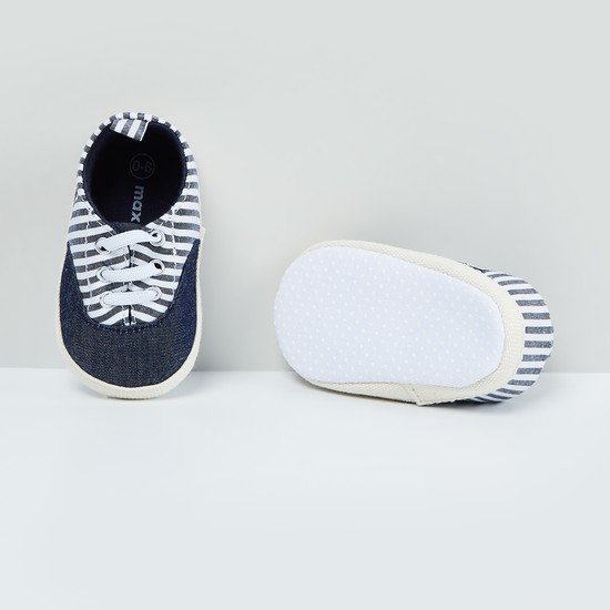MAX Striped Lace-Up Booties - 0-6M