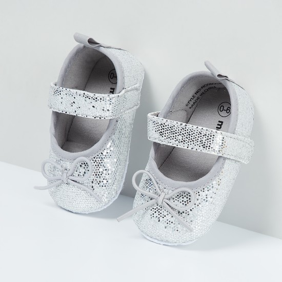 MAX Glittered Bow Detailed Booties - 0-6M
