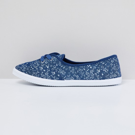 MAX Floral Print Shoes with Mock Lace-Up